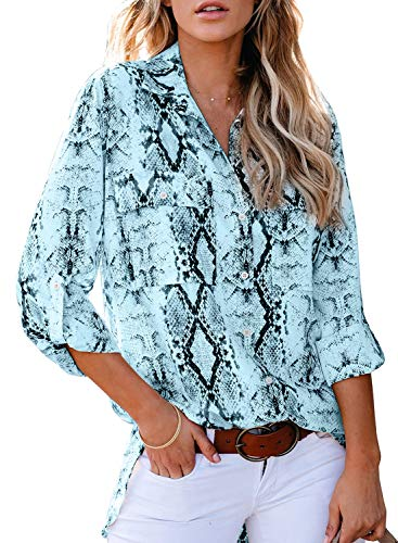 Astylish Women Loose Fit 3 4 Sleeve Button Down Collared Snake Print Tunic Blouse Tops Shirts Blue Medium