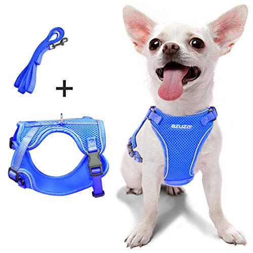 """azuza Puppy Harness and Leash Set, Reflective Air Mesh Dog Vest Harness, All Weather Comfort Dog Harness for Small Dogs and Toy Breeds, Chest Girth: 15""""-21"""""""