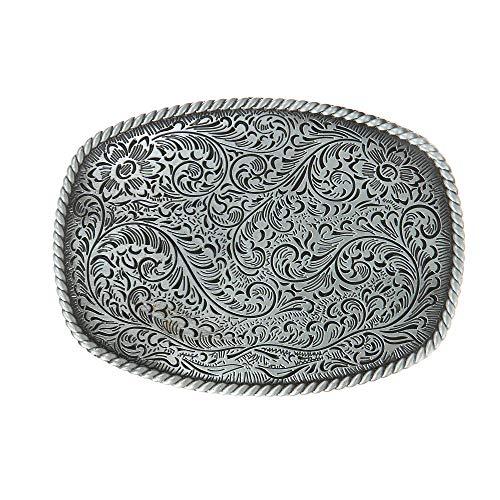 KDG Western Cowboy Belt Buckles Antique Copper Large Custom Belt Buckles Engraved Floral with Rope Edge Novelty Buckles