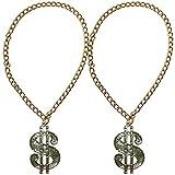 2 x Dollar Medaillon mit Kette für Big Daddy, Gangsta Rapper, Kostüme zum Protzen