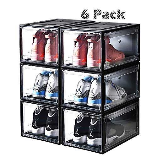 Montex Shoe Box 6 Pack/ 4 Pack Drop-Front Shoe Storage with Magnetic Closure Large Size Shoe Organizer Stackable for Shoe Collection Display, Wide, Black/White (Black, Pack of 6)
