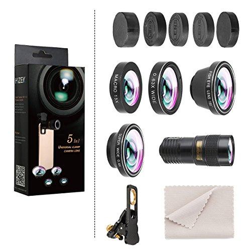 Phone Camera Lens,Hizek 0.36X Super Wide Angle Lens+15X Macro Lens+230Fisheye Lens 3 in 1 HD Cell...