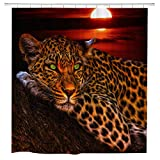 BBSET Fabric Shower Curtain Set with Hooks Waterproof Washable 180 x 180 cm (Leopard)