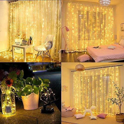 Aitsite LED Lichtervorhang, 300 LED Lichterkettenvorhang 3m * 3m USB Powered Fernbedienung IP65 Wasserfest 8 Modi Lichterkette für Weihnachten Hochzeit Party Schlafzimmer Fenster Deko