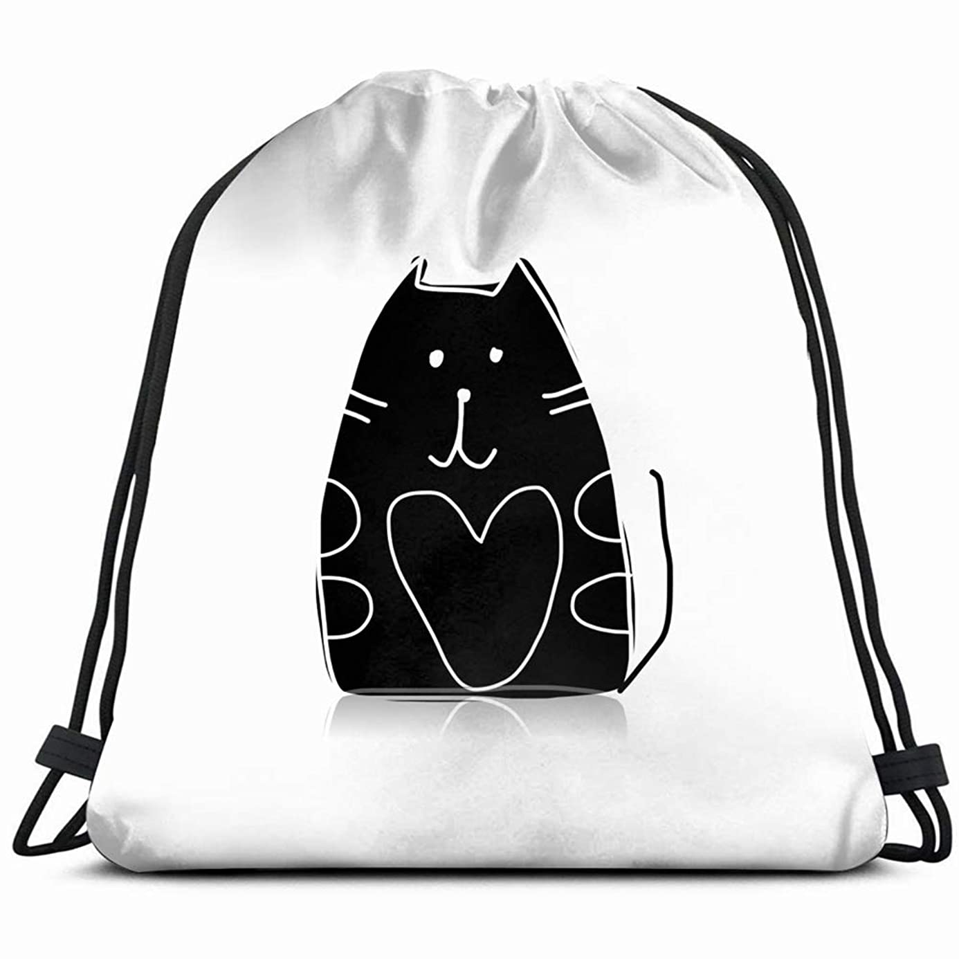 black cat silhouette sketch your design animals wildlife the arts Drawstring Backpack Bag Gym sack Sport Beach Daypack for Girls Men & Women Teen Dance Bag Cycling Hiking Team Training 17X14 Inch