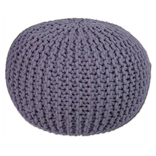 Gr8 Home Large Round Cotton Handmade Knitted Pouffe Foot Stool Braided Cushion Ball Chair Seat Rest (Dark Grey)
