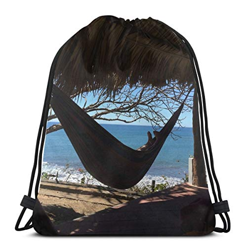 Relaxing In A Hammock Under A Cabana In The Tropics Drawstring Bag Sports Fitness Bag Travel Bag Gift Bag