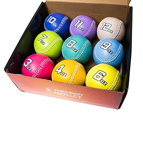 Precision Impact Weighted Baseballs: Weighted Baseball Set for Throwing/Pitching Training (Includes Durable Drawstring Bag)