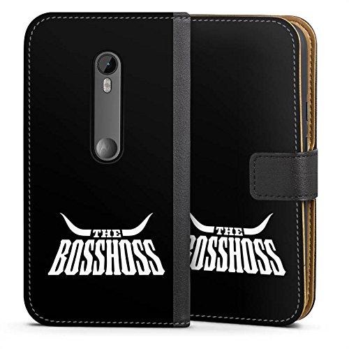 DeinDesign Klapphülle kompatibel mit Motorola Moto G3 Handyhülle aus Leder schwarz Flip Case Bosshoss Rock Fanartikel
