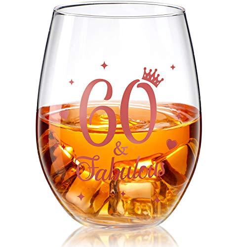 Stammlos Weinglas Roségold Geburtstag Weinglas Geschenk Jubiläum Gläser für Mann Frauen Geburtstag Party Hochzeit Jahrestag Dekorationen, 17 Unzen (60 and Fabulous)