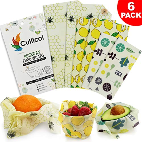 commercial Food packaging with beeswax, 6 pieces – 2S, 2M, 2L – Strong, eco-friendly, organic and reusable food packaging –… beeswax wraps
