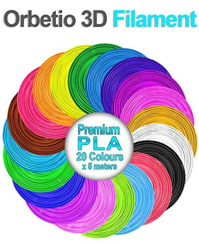 Filaments Orbetio 3D pour stylos, 20 couleurs différentes (5 mètres de long chacun) de 1,75 mm recharges de filaments PLA non toxiques compatibles avec la plupart des stylos d'impression 3D.