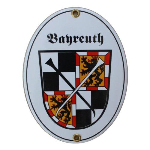 Bayreuth Emaille Schild 11,5 x 15 cm Emailschild Oval.