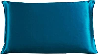Dehman 100% Pure Mulberry Charmeuse Silky Satin Silk Pillowcase Pillow Case Cover for Hair & Skin 19 Momme (1Piece) (Peacock Blue, Standard Size,20X26 INCHES)