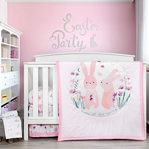 TILLYOU Luxury 4 Pieces Floral Crib Bedding Set (Embroidered Crib Comforter, Crib Sheets, Crib Skirt) - Floral & Bunny Theme Printed Nursery Bedding Set for Baby Girls, Pink