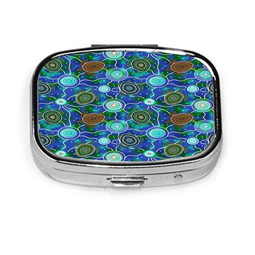 Caja de pastillas cuadrada plateada de moda personalizada, estuche organizador de billetera con soporte para tableta para bolsillo o monedero, tortugas marinas y