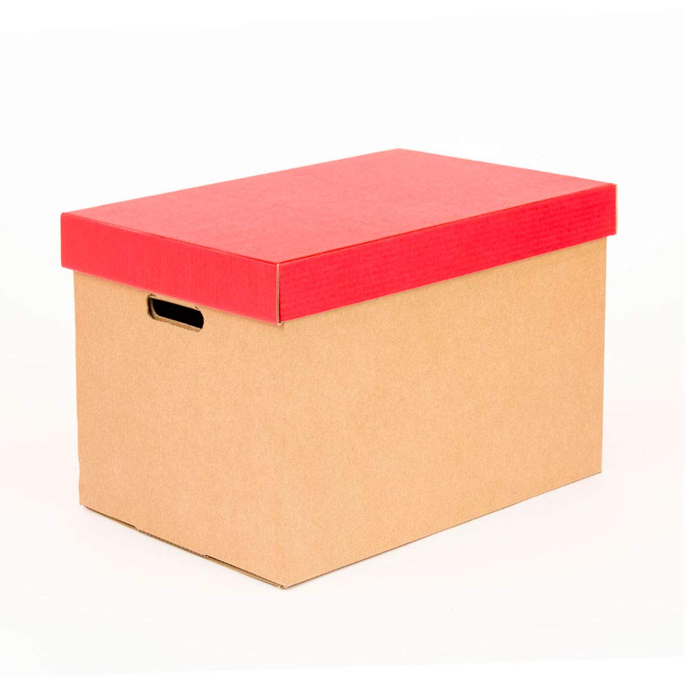 Kartox | Cajas de almacenamiento con tapa roja mate | Cajas para mudanza y almacenaje de