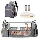 MYWILON - Mochila cambiador 3 en 1 para bebé y mamá – Gran capacidad – Bolsa de pañales multifunción impermeable – Bolsa de viaje con cama para bebé (Gris)