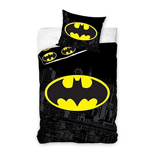 Comics DC Juego de cama individual de algodón con el logotipo de Batman, funda de edredón de 140 x 200 cm, funda de almohada de 70 x 80 cm
