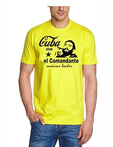 Fidel Castro - el commandante - CUBA VIVE - maximo Leader T-SHIRT, gelb, GR.M