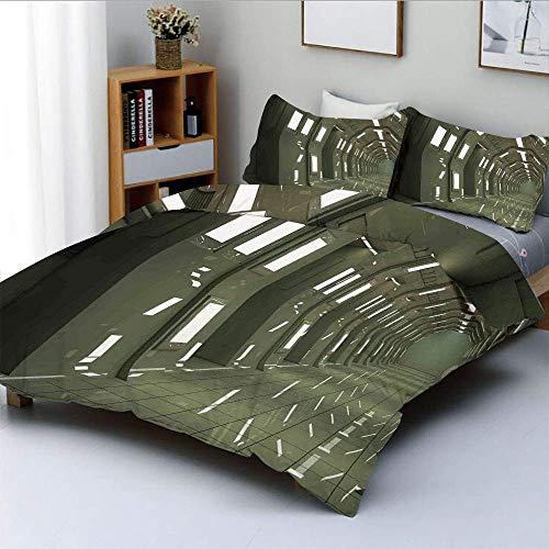 Juego de funda nórdica, Space House Sci Fi inspirado en el medio ambiente Perspectiva Robótica Pantalla subterránea decorativa Juego de cama decorativo de 3 piezas con 2 fundas de almohada, ve