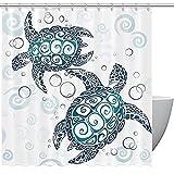 Mondern Badezimmer Duschvorhang, Schildkröte Schildkröten Wasserdicht Stoff Duschvorhang Liner mit 12 Haken, Bad Duschvorhänge für Badezimmer, maschinenwaschbar 167,6 x 182,9 cm