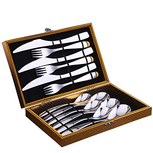 Stainless Steel Flatware Set,Silverware Set,Cutlery set,304 stainless steel cutlery set, steak knife and fork gift box, (for any occasion) the best gift-B