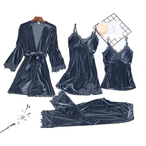 Conjunto de pijama de terciopelo para mujer, estilo sexi, con cuello en V, de 4 piezas, de manga larga, suelto Gris gris XL