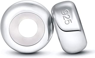 DALARAN 925 Sterling Silver Spacer Charms Plain Stopper Beads for Charms Bracelet