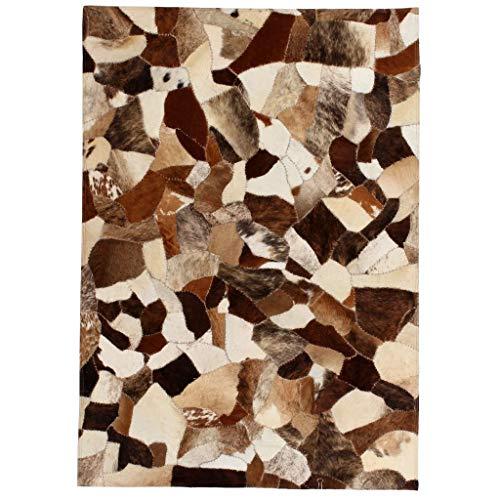 Festnight Teppich Echtes Leder Patchwork-Teppich Kuhleder Fellteppich 80 x 150 cm Braun und Weiß für Wohnzimmer Schlafzimmer