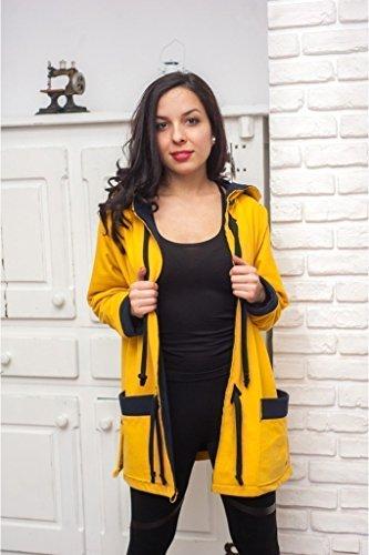 Handgemachte Designer Gelbe Jacke, 100% Baumwolle, Mit Kapuze und Taschen, Damen Größe XL / 2XL