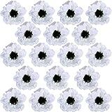 18 Pcs White Poppy Anemone Blooms Silk Flowers Artificial Flowers in White Cream with Black Center for Wedding Corsages Boutonnieres Floral Arrangement Vase Basket Centerpieces Decoration
