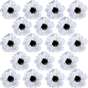 18 Pcs White Poppy Anemone Blooms Silk Flowers Artificial Flowers in White Cream with Black Center for Wedding Corsages Boutonnieres Floral Arrangement Vase Basket Centerpieces Decoration