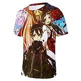 MSBXBB Camiseta Impresa En 3D Unisex Camiseta De Manga Corta Informal Personalizada De Verano Tops Sword Art Online XXXXL