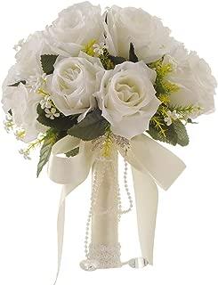 Fouriding Bouquet de Lujo Nupcial de la Boda Ramo de Flores Rose Ribbon Con Cuentas Rhinestone Decoraci/ón Del Hogar Suministros de la Boda Rosa