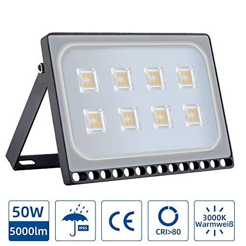Led-schijnwerper, buitenwandlamp, led-schijnwerper met super heldere en IP65, waterdicht voor buitenverlichting, tuin, fabrieken, aanlegbanken (warmwit, 50 W)
