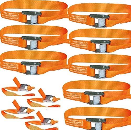 18x Spanngurte Klemmschloss Befestigungsriemen Spanngurt mit Schnellverschluss 2.5m 100/200kg EN Norm Farbe: orange, iapyx®