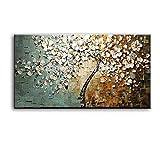 ZHANGPENGBOFBH Lienzo Pintura al óleo Nueva Moderna Paleta Cuchillo árbol 3D Flores Cuadros hogar Sala decoración Arte de la Pared 50x120cm (19.7'x47.2) Sin Marco
