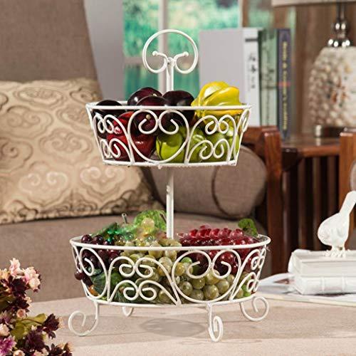 SCDSGJ 2-Tier Metal de Frutas Cesta del almacenaje, Negro Pastel de Rack de Almacenamiento en Rack Rack Cubiertos Bathroom (Color : White)