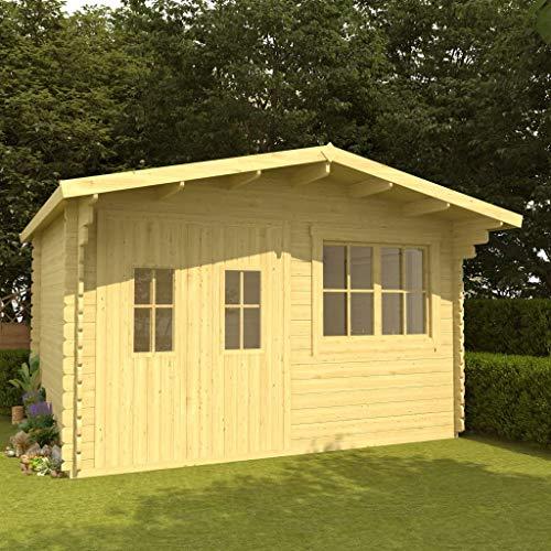 SKM Log Cabin with Floor 34 mm 400x376x256.5 cm Solid Pinewood
