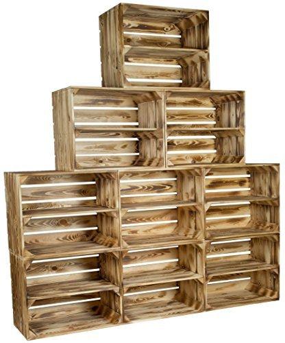 flambierte/geflammte Massive Obstkisten als Regal mit Zwischenbrett/Mittelbrett Einlage 50 x 40 x 30cm / Apfelkisten Weinkisten Holzkisten aus dem Alten Land (9er Set)