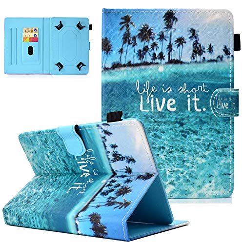 Popbag Universal Case for 10-10.5 In Tablet, Card Holder Stand Flip Case for Galaxy Tab A 10.1 T510 T580 P580/ Tab A7 10.4'/ Tab M10 Plus 10.3'/ Tab S6 Lite 10.4' P610/ Android Tablet 10.1', Blue Sea