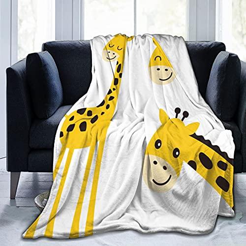 Manta super suave,Ilustración de vector de jirafa lindo sonriente mirando a escondidas,Manta de felpa suaves y esponjosa para sofá cama y sala de estar adecuada para todas las estaciones 150x125cm