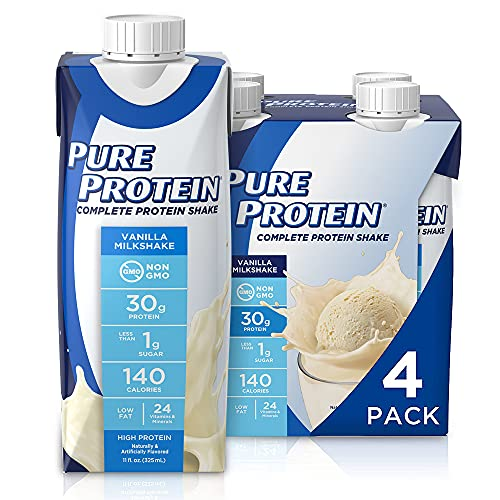 Pure Protein Vanilla Protein Shake | 30g Complete Protein | Ready to Drink and Keto-Friendly | Vitamins A, C, D, and E plus Zinc to Support Immune Health | 11oz Bottles | 4 Pack