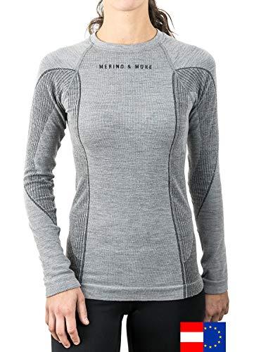 Merino & More Merino Skiunterwäsche Damen - Premium Funktionsunterwäsche aus Merinowolle - Langarm - Funktionsunterhemd schwarz-grau Gr. S