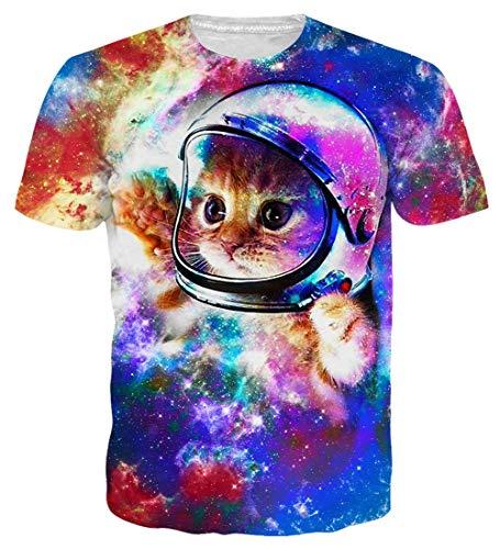 Loveternal Katzen T-Shirt Herren 3D Printed Cat T-Shirt Hispter Casual Kurzarm Hawaii Shirt XXL