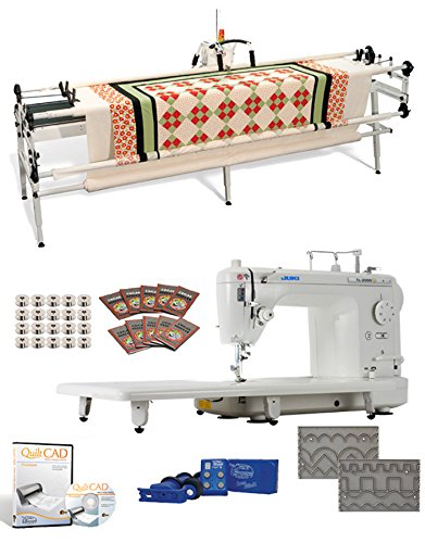 "Juki TL2000Qi 9"" Long Arm Machine, Grace SR2 Quilting Frame, SureStitch Regulator, Pattern Templates, 100 Needles, 20 Bobbins, Extension Table and QuiltCAD Pattern Design Software"