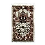 Alfombra de oración de 110x65 cm con brújula Alfombra de oración de bolsillo de viaje Alfombra Alfombrilla Tapiz Alfombra de bordado Islámico musulmán Tapicería de borla portátil Impermeable