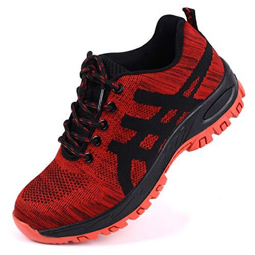 Zapatillas Hombre Zapatos de Seguridad S3 Zapatos de Industrial Mujer Zapatillas Zapatos de Trabajo con Puntera de Acero Ligero Comodas Antideslizante Calzado de Seguridad Trabajo para Unisex Rojo 44
