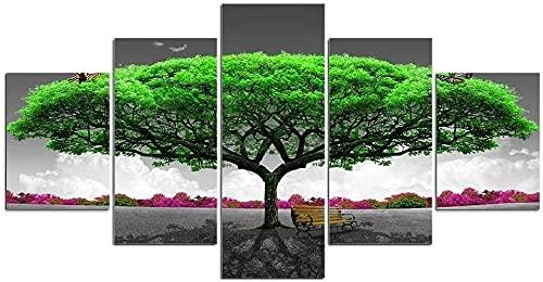 WNQMY Impresiones En Lienzo 5 Paneles Impresos En HD Pintura Modular Árbol Verde Silla Paisaje Arte De La Impresión Decoración Moderna para El Hogar Arte De La Pared Sala De Estar Arte De La Lona
